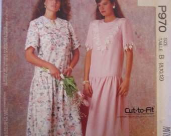 McCalls P970 Womens 80s Dropped Waist Dress Sewing Pattern Bust 31 to 34