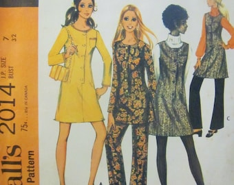 McCalls 2014 Junior's 60s Petite Dress Jumper Top and Pants Sewing Pattern Bust 32