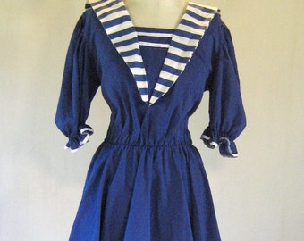 Navy & White Striped Nautical Dress