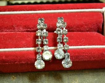1950s Rhinestone Dangle Earrings