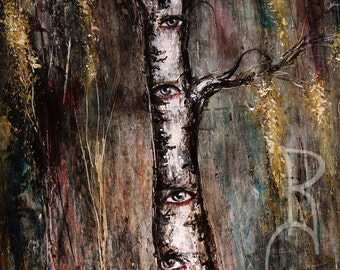 The Watcher - Mixed Media - Weeping birch painting - Skeleton art work