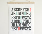 I love You Alphabet Love. Mint and Coral Typography Canvas Pull Down Chart - Wall Hanging Print - CV100