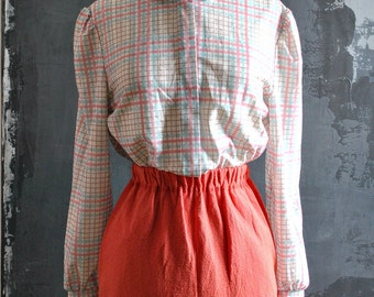 Feminine Cut, 70s Style Shimmery Secretary Button Down - Pink and Blue Plaid; Free Domestic Shipping!