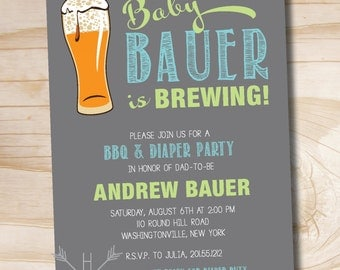 Baby is Brewing bbq, beer and babies Diaper Party Invitation - Printable digital file or printed invitations