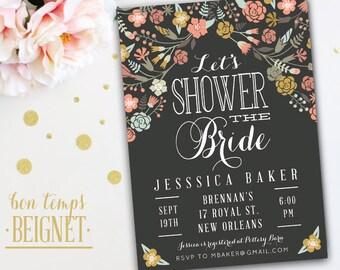 Bridal Shower Invitation - 5x7 Printable Invitation -  Floral Bridal Shower - Pressed Flowers - Let's Shower the Bride