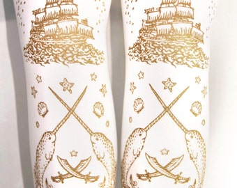 Gold White Narwhal Tights Large Gold on White Nautical Sailor Lolita Pirate Octopus Anchor Tattoo