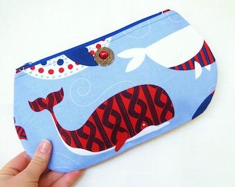 Zipper Pouch, Zippered Pouch, Pouch, Handmade Pouch, Handmade Zipper Pouch, Whale Pouch