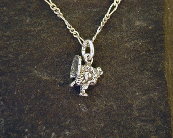 Sterling Silver Turkey Pendant on a Sterling Silver Chain