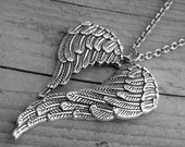 Angel Wings Necklace Winged Heart Necklace Heart Jewelry Angel Wing Necklace Angel Wing Jewelry Wings Jewelry Gothic Goth Romance Romantic