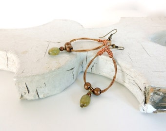 GUITAR STRING EARRINGS - Copper and Green Aventurine Earrings -  - recycled/eco-friendly/upcycled jewelry - under 25.00