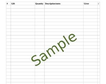 Wedding Gift Recorder, Bridal Shower, Wedding Shower Gift Record Sheet, Printable, Yellow Teacups