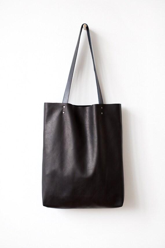 sale simple black leather tote bag notl 6022 by coriumi