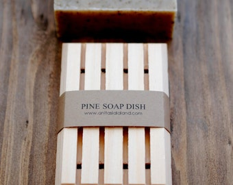 All Natural Pine Wood Soap Dish - Handcrafted Wooden Soap Dish, Made in Canada