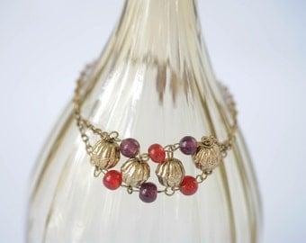 Large size beaded bracelet, bollywood style, gold, red, & purple, gold chain bracelet