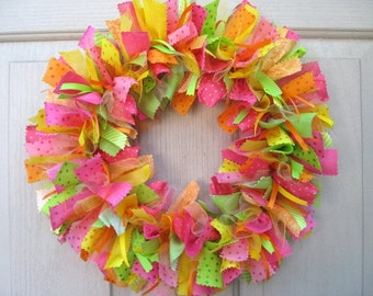 Rag Wreath, Summer Wreaths, Fabric Wreath, Ribbon Wreath, Party Decoration, Pink Wreath, Hawaiian Luau Tropical Decor, Front Door Wreath