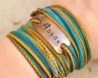 Abide, Boho Silk Wrap Bracelet- BOHO, silk wrap bracelet- Wrap bracelet- christian jewelry- Abide in me, scripture bracelet