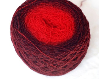 Pure Cashmere Gradient Yarn, Recycled, Bright Red, Dark Red, Lace Weight, 450 yards,hand dyed, handpainted, lot #12