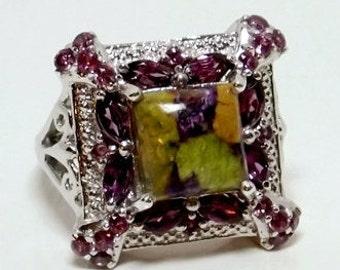 Sterling Silver - Tasmanian Stichtite , Rhodolite Garnet Ring