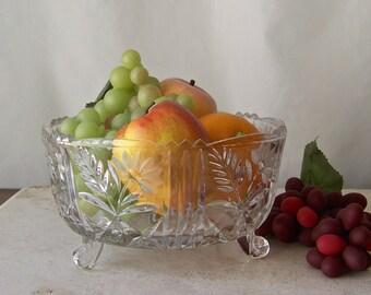 Vintage Leaded Crystal Footed Bowl Cut glass Fruit Bowl Salad Kitchen Serving Bowl Vintage 1950s