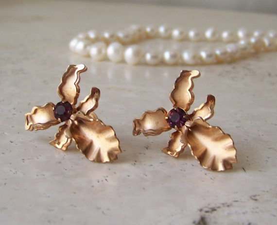 Vintage orchid earrings designer jewelry signed by for Bugbee and niles jewelry