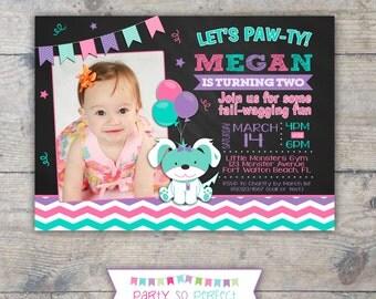 CHALKBOARD PUPPY CHEVRON Photo Birthday Party Invitation - Girl Printable
