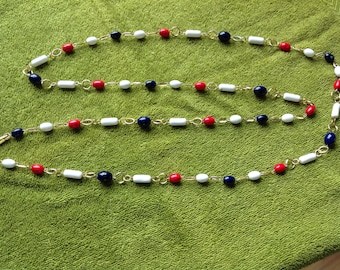 Vintage beaded necklace, red white blue, Hong Kong necklace, 4th of July necklace