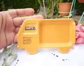 Vintage Advertising Ashtray - HERTZ Ashtray - Made In France - Villenauxe En Champagne - Yellow Mustard - Collectible - Car Shaped