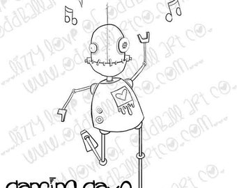 INSTANT DOWNLOAD Digi Stamp Digital Image Whimsical Dancing Robot ~ Dancing Dave Image No.237 by Lizzy Love