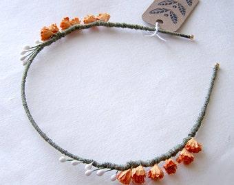 Pumpkin Orange Laurel Flower Headband