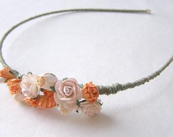Blush Pink Roses and Orange Spray Flowers Headband