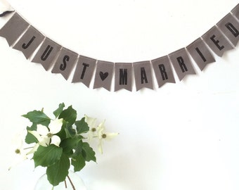JUST [heart] MARRIED Wedding Fabric Banner / Sign - Gray - Eco-friendly