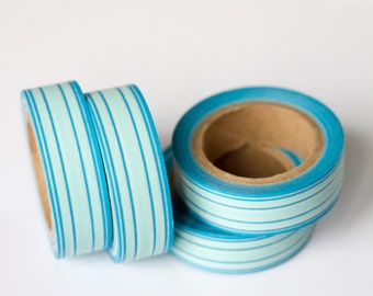 WASHI TAPE CLEARANCE - 1 Roll of Two Tone Blue and White Stripe Washi Tape / Decorative Masking Tape (.60 inches x 33 feet)