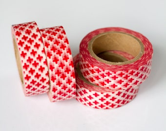 WASHI TAPE CLEARANCE - 1 Roll of Red and White Crosses Washi Tape / Decorative Masking Tape (.60 inches wide x 33 feet long)