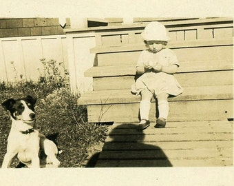 "Vintage Photo ""A Dog a Shadow and a Girl"" Snapshot Photo Old Antique Black & White Photograph Found Paper Ephemera Vernacular - 08"