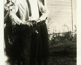 "Vintage Photo ""The Goofy Brother"" Funny Boy Old Snapshot Antique Photo Black & White Photograph Found Photo Paper Ephemera Vernacular - 161"