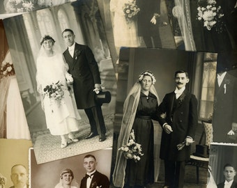 "30 pc - Vintage Photo and Postcard Lot ""Just Married Collection"" Old RPPC Photo Antique Black & White Photography Paper Ephemera - 112014"
