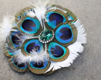 Turquoise Blast Feather Fascinator with Vintage Brooch Detail