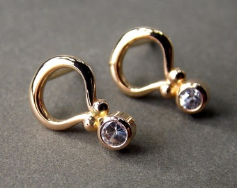 Gemstone Post Earrings, White Sapphire Earrings, Solid 14K Yellow Gold Earrings