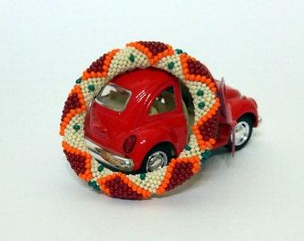 Beaded Bracelet - Crochet Bracelet - Beaded Crochet Bracelet - Red Heart Bracelet - Crochet jewelry