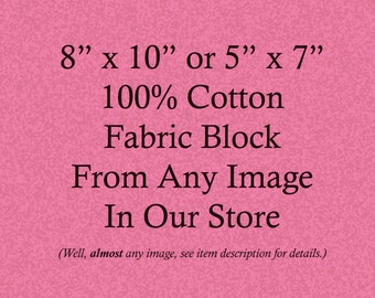 Vintage Image Fabric Block - 8 x 10 Cotton Fabric - Choose From Any Image in Our Store