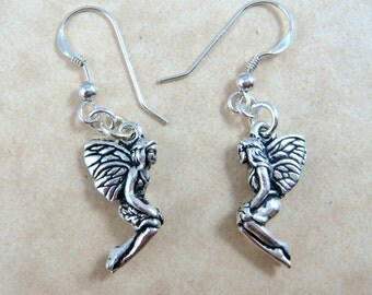 Celtic Earrings - Celtic Fairy Earrings - Silver Fairy Charm Earrings - Sterling Silver Ear Wires
