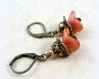 Pink Flower Earrings - Glass Flower Earrings - Coral Pink Flower Earrings - Salmon Pink and Gold Earrings - Cottage Chic Earrings