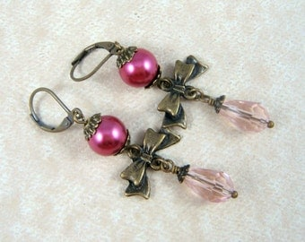 Victorian Style Earrings - Pink Earrings - Fuchsia Pearl and Pink Crystal Teardrop Earrings, Light and Hot Pink Earrings, Brass Bow Earrings