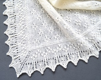 "Shawl pattern ""Celestina"". Lace Wrap, Scarf, Baby shawl, Christening square shawl. Original design. PDF pattern. LaceKnit design"
