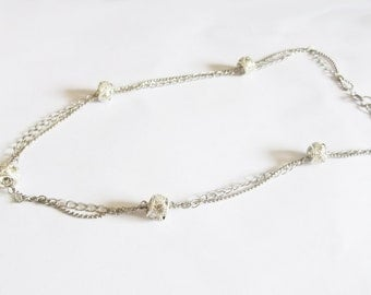 Elegant shiny layered necklace - silver plated