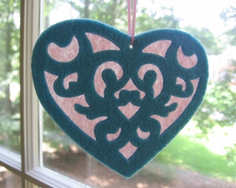 Heart Felt Ornament, Turquoise and Pink Ornament, Victorian Heart Ornaments, Christmas Tree Ornament, Tree Decoration, Felt Heart Decor