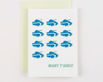 Many T'anks Thank You Greeting Cards - Set of 5