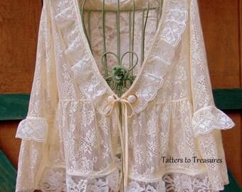 Ivory Lace on Lace Peplum Top SIZE M/L Refashioned Upcycled Romantic Boho Bridal Wedding Vintage Linen