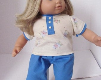 Pajamas, Sleep pants,  T shirt,  15 inch Doll Clothes, Doll Pajamas