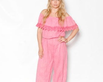 Vintage Mexican Cotton Gauze Jumpsuit,  Crochet Trim Playsuit